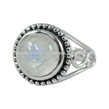 Designer Regenbogen Moonstone Edelstein 925 Sterling Silber Ring