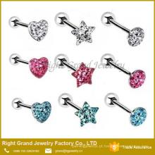 O coração misturado da estrela dá forma à melhor jóia piercing original da lingüeta do anel do projeto