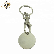 Llavero personalizado del token de la moneda del espacio en blanco del metal plateado de la aleación de hierro