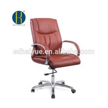Modern Gas Spring mid brown leather conference chair