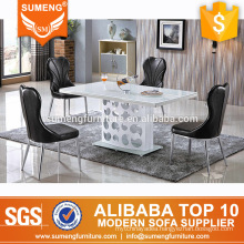 french style stainless steel frame white marble top dining table