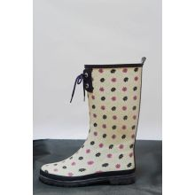 Printing Spring Pu Half Rain Boots With Cotton Lining For Ladies