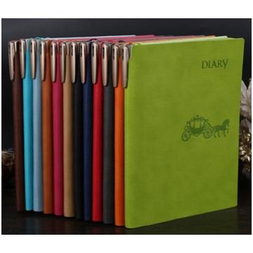 Cuaderno de negocios profesional personalizado, diario Cuaderno de cuero con pluma