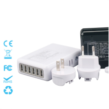 6 Ports Travel Charger with Interchangeable Plugs 5V=4A