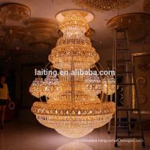 Vintage Interior Decor Luxury Hotel Lobby Crystal Chandelier Large Big Pendant Hanging Lamp Light Lighting LT-63025