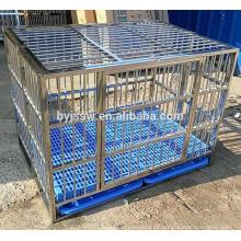 Jaula plegable del perro del acero inoxidable de la marca de BAIYI, caja del perro, jaula del animal doméstico con el piso plástico