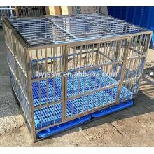 Cage pliable de chien d'acier inoxydable de marque de BAIYI, caisse de chien, cage d'animal familier avec le plancher en plastique