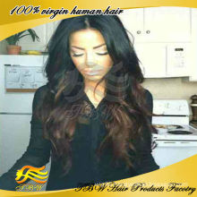Two tone color and fashionable women's full lace wig with baby hair wigs