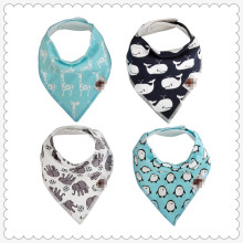 Baby Bandana Bib Pack of 4 Organic Cotton Drool Bibs, The Best Baby Gift for Boys & Girls