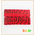 Double 6 plastic black paint red domino with plastic box