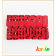 Double 6 peinture noire en plastique domino rouge
