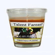 Vela de cristal perfumada de la soja del pudín de la Navidad