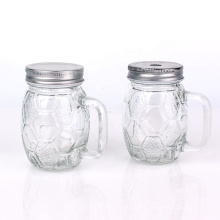 hot sell 120ml 12oz wide mouth football embossed empty glass mason jar with handle for juice