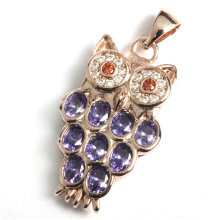 Fashion Owl Jewelry Findings Pendant with Precious Gemstone Stone