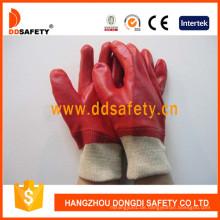 Red PVC voll getaucht Handschuhe mit Interlock Liner stricken Handgelenk Dpv100