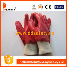 Red PVC Fully Dipped Gloves with Interlock Liner Knit Wrist Dpv100