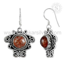 Bridal real sunstone silver earring jewelry 925 sterling silver wholesale jewellery supplier india