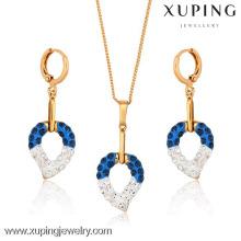 62743-korea teen fashion jewelry 18k gold colorful heart sets