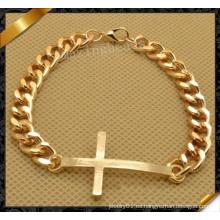 Pulsera de la cadena de la pulsera del oro de la cruz de la manera, pulsera de la amistad (fb059)