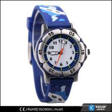 Relógio de pulso de silicone 3D relógio barato quartzo traseiro de aço inoxidável
