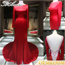 Backless long train red floor length evening dress wholesale long sleeve