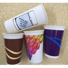 Coupe de café à double mur à 8-22oz avec revêtement PE unique