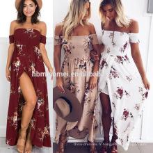 Sexy profonde V-cou plissage maxi robe d'été femmes longues robes longues 2016