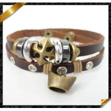 Pulseras de cuero cruzadas, pulsera encantos, joyas de cuero real (fb094)