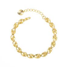 Jewelry vintage 24k gold-plated car flower clover bracelets cross-border Amazon heart-shaped bracelet women for bride