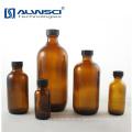 Botella de almacenamiento de vidrio de color ámbar redonda de 120 ml con tapa de plástico