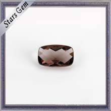 Coffee Color Cushion Checker Cut Transparent Crystal Glass