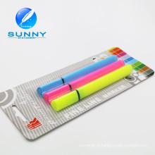 Alta qualidade Multi colorido Highlighter caneta, Blister cartão embalagem conjunto de canetas marca-texto