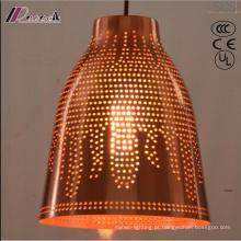 Luz pingente oco de bronze e redondo com sala de jantar