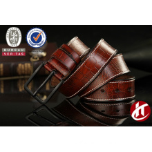 Stone grain stright stitch black pin buckle genuine leather belt