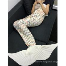 Fashion Yarn Knitted Colorful Rhombus Design Warmth Mermaid Tail Blanket