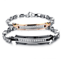 2015 new South Korean style fashion trend in Europe and America a couple of titanium steel bracelet diamond lattice GS713