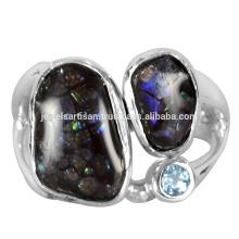 Schöne Ammolith und Schweizer Blaue Topas Edelstein 925 Solide Silber Ring Schmuck