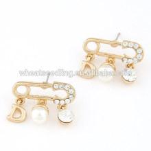 Moda broche design pérola encantos cristal Stud Earrings