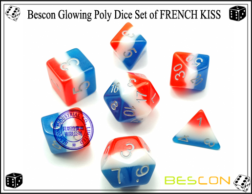 Bescon Glowing Poly Dice Set of FRENCH KISS-1