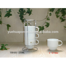 Eco-friendly durable porcelain tea white cup with steel rack