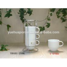 Экологически чистый фарфоровый белый чайный стакан со стальной стойкой