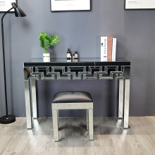 clear mirror geometric pattern console table