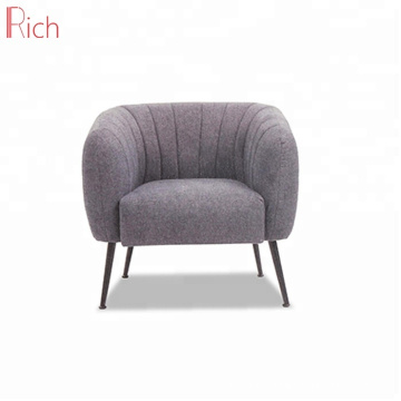 Stainless Steel Metal Legs Armchair Modern Indoor Furniture Fabric Single Sofa