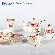 Pink Drawing Royal Style Tea Set, Ceramic Afternoon Tea Set