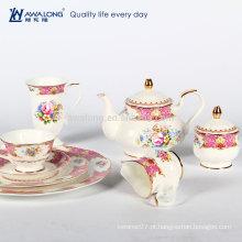 Rosa desenho conjunto de chá estilo real, cerâmica chá da tarde set