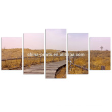 Autumn Scenery Wall Art/ Ocean Walkway Landscape Picture to Photo Paintings on Canvas
