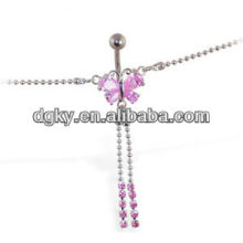 Body piercing jewelry pink jeweled butterfly sexy belly chain