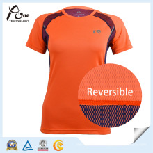 Reversible Fabric Tshirt Womens Active Wear Lady Sportswear