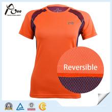 Reversible Fabric Tshirt Womens Active Wear Lady Sportswear