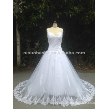 Princess A Line Cap Sleeve V Neck Lace Tule Vestido de casamento com cintas Bandage Closure Bridal Gown